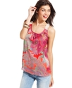 Juniors Top, Sleeveless Paisley-Print Crochet-Knit