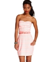 Juniors Dress, Strapless Striped Sweetheart