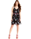 Plus Size Dress, Sleeveless Lace Printed Belted
