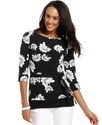 Petite Top, Three-Quarter-Sleeve Printed Belted Tu