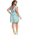 Plus Size Dress, Cap-Sleeve Floral-Print A-Line