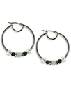 Earrings, Silver-Tone Small Turquoise Glass Bead H