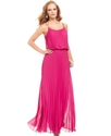 Xscape Dress, Sleeveless Pleated Blouson Gown
