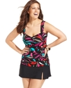 Plus Size Swimsuit, Printed Ruched Tankini Top Wom