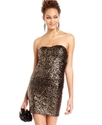 Juniors Dress, Strapless Sequin