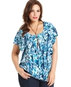 Plus Size Top, Short-Sleeve Printed Ruffle