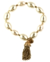 Bracelet, Worn Gold-Tone Imitation Pearl Tassel St