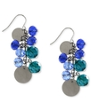 Earrings, Silver-Tone Blue and Green Glass Bead Sh