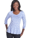 Petite Top, Three-Quarter-Sleeve Polka-Dot Ruched