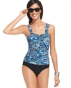 Swimsuit, Tummy-Control Printed Ruched Tankini Top