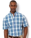 Shirt, Medium Plaid Poplin Short Sleeve Shirt