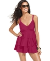 Swimsuit, V-Neck Tiered Ruffle Swimdress Women's S