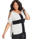 Plus Size Top, Short-Sleeve Lace Cross High-Low