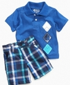 Baby Set, Baby Boys Argyle Polo Shirt and Shorts S