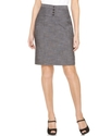 Petite Skirt, Textured High Waist Button Pencil
