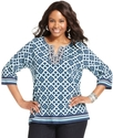 Plus Size Top, Three-Quarter-Sleeve Printed Beaded
