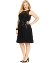 Plus Size Dress, Sleeveless Belted Lace