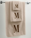 Avanti Bath Towels, Initial Linen and Brown 12   x