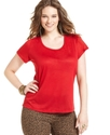 Plus Size Top, Short-Sleeve Slub Scoop-Neck