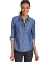 Petite Top, Three-Quarter-Sleeve Chambray Shirt