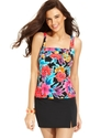 Swimsuit, Tropical-Print Pleated Tankini Top Women