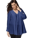 Plus Size Top, Long Sleeve Pleated