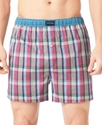 Men&#39;s Underwear, Pink Plaid Woven Boxer