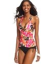 Swimsuit, Halter Ruched Tropical-Print Tankini Top