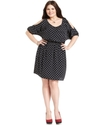 Plus Size Dress, Elbow-Sleeve Cutout Polka-Dot