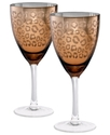 Glassware, Set of 2 Animal Print Wine Glasses