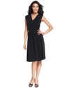 Petite Dress, Sleeveless Faux-Wrap A-Line