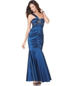 Xscape Dress, Sleeveless One Shoulder Beaded Ruche