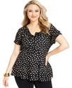 Plus Size Top, Short-Sleeve Polka-Dot Peasant