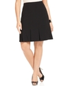 Plus Size Skirt, Black Stretch Suiting Pleated A-L