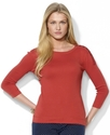 Petite Top, 3/4 Sleeve Button-Shoulder Crew-Neck T