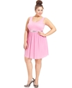 Plus Size Dress, Sleeveless Belted Pleated