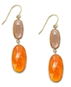 10k Gold Earrings, Carnelian Double Drop Earrings 