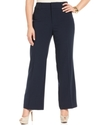 Plus Size Pants, Navy Stretch Suiting