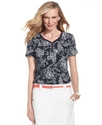 Top, Short-Sleeve Printed V-Neck