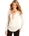Juniors Top, Long Sleeve Pointelle-Knit Henley