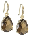 Earrings, Gold-Tone Pear-Cut Stone Drop Earrings