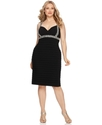 Plus Size Dress, Beaded Strap Shutter With Cowl Cr