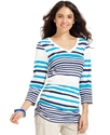 Top, Three-Quarter-Sleeve Striped Ruched