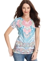 Petite Top, Short-Sleeve Scarf-Print Henley