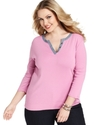 Signature Plus Size Top, Three-Quarter-Sleeve Henl