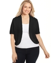 Plus Size Sweater, Short-Sleeve Ruffle Cardigan