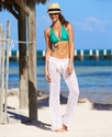 Cover Up, Straight-Leg Tie-Front Crochet Pants Wom