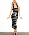 Juniors Dress, Sleeveless Striped Belted Maxi
