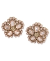 Earrings, Gold-Tone Beaded Flower Button Clip-On E