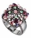 Ring, Multicolor Crystal Flower Square